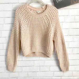 Garage Waffle Knit Cropped Sweater Sepia Rose
